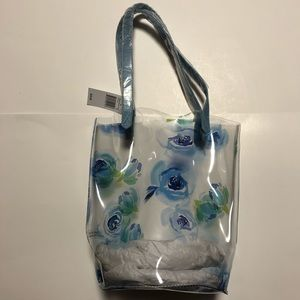 Macy's • Clear Blue Floral Tote